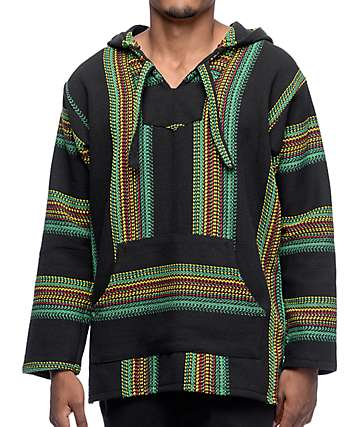 Senor Lopez Punta Lobo Palmita Black Striped Poncho