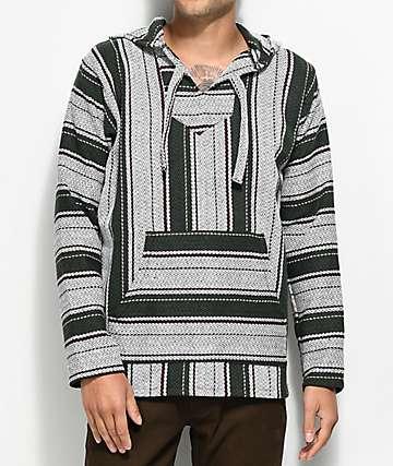 Senor Lopez Small Stripe Cluster Grey Poncho