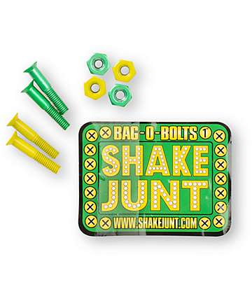 Shake Junt Bag-O-Bolts Green & Yellow 1 Skateboard Hardware