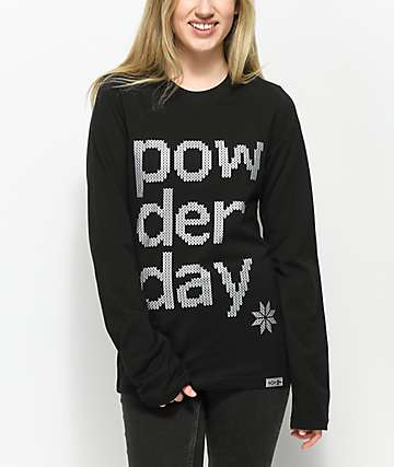 She Shreds Co. Powder Day Black Long Sleeve T-Shirt