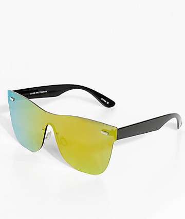 Shield Yellow & Green Rimless Sunglasses