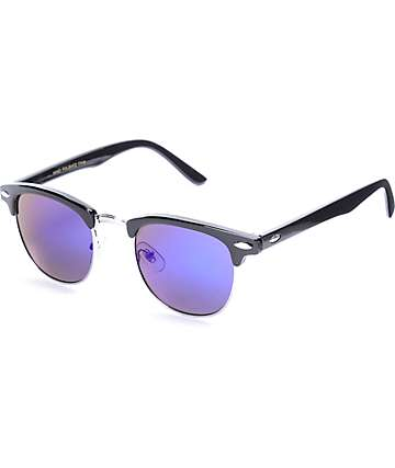 Shiny Black & Blue Clubmaster Sunglasses