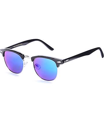 Shiny Black & Green Clubmaster Sunglasses
