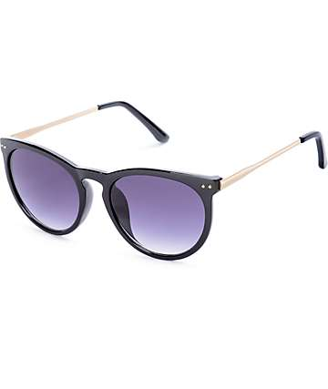 Sierra Black & Gold Round Sunglasses