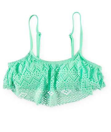 Since By Malibu Summer Crochet Flounce Bathing Suit Top