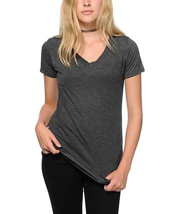 Sirens & Dolls Basic Heather Black V-Neck T-Shirt