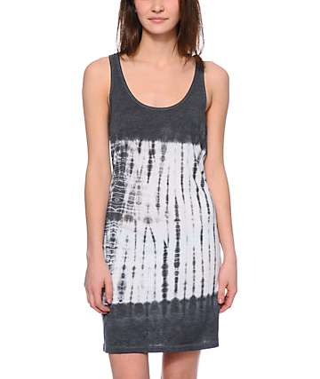 Sirens & Dolls Charcoal & White Tie Dye Tank Dress