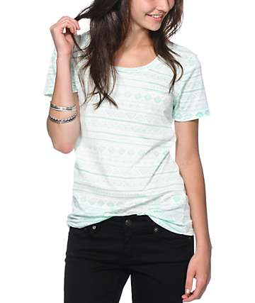 Sirens & Dolls Mint Geo Tribal Reverse Print T-Shirt
