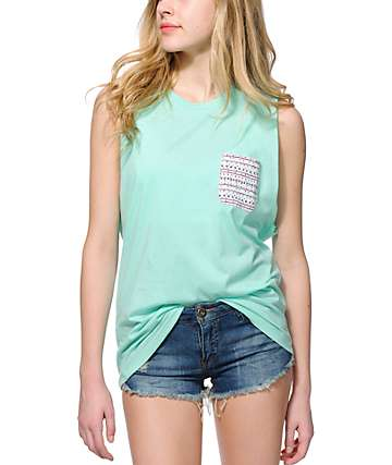 Sirens & Dolls Stone Tribal Pocket Mint Muscle Tee