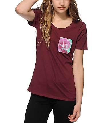 Sirens & Dolls Swirl Tie Tye Scoop Neck Pocket T-Shirt