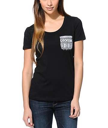 Sirens & Dolls Tribal Pocket Black Scoop Neck T-Shirt