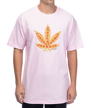 Skate Mental Pizza Leaf Pink T-Shirt