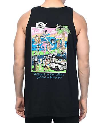 Sketchy Tank Beach Black Tank Top