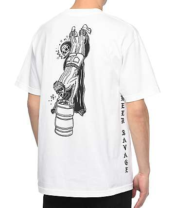Sketchy Tank Beer Savage White T-Shirt