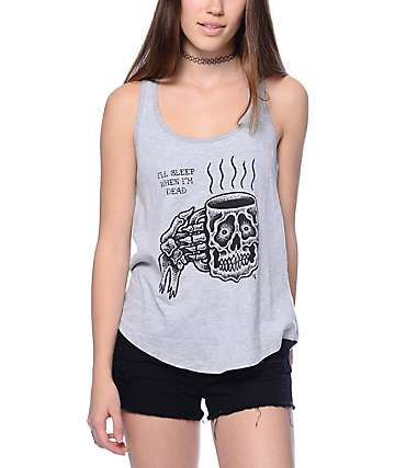 Sketchy Tank Caffiend Grey Tank Top
