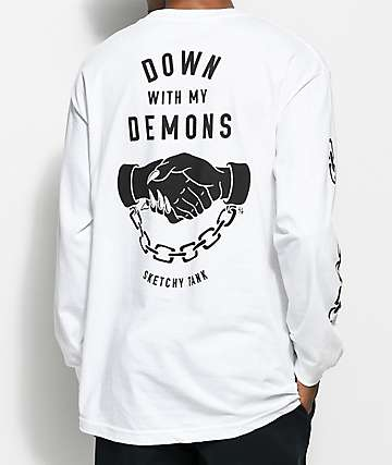 Sketchy Tank Demons White Long Sleeve T-Shirt