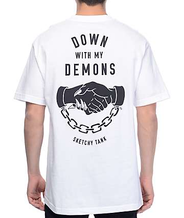 Sketchy Tank Demons White T-Shirt