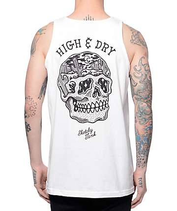 Sketchy Tank Dry White Tank Top