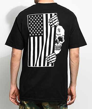 Sketchy Tank Flag Black T-Shirt