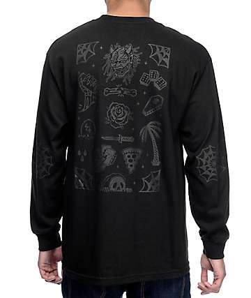 Sketchy Tank Flash Black On Black Long Sleeve T-Shirt