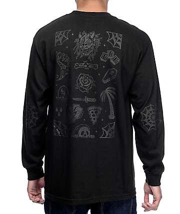 Sketchy Tank Flash Black On Black Long Sleeve T-Shirt