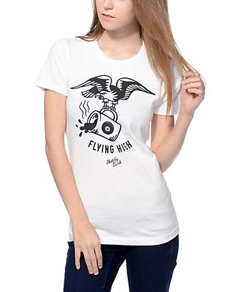 Sketchy Tank Flying High White Tee Shirt