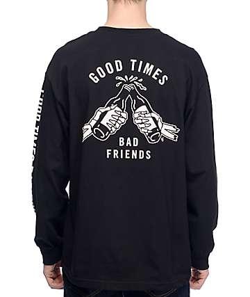 Sketchy Tank Good Times Bad Friends camiseta de béisbol