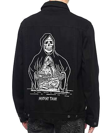Sketchy Tank In Paradise Black Denim Jacket