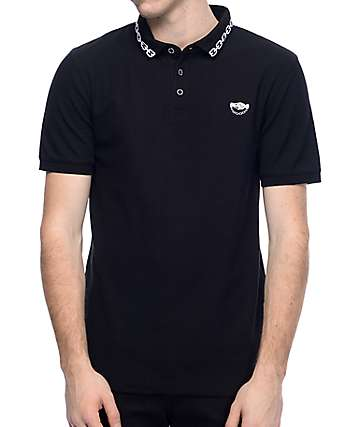 Sketchy Tank Link Knit Black Polo Shirt