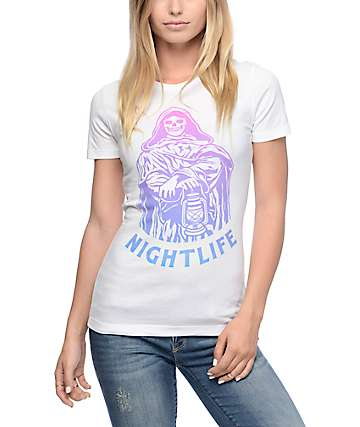 Sketchy Tank Nightlife Neon White T-Shirt