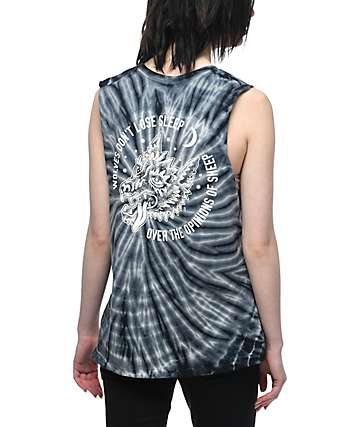 Sketchy Tank Opinions Blue Tie Dye Muscle Tank Top
