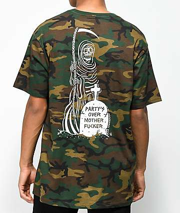 Sketchy Tank Party's Over Woodland Camo T-Shirt