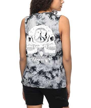 Sketchy Tank Peace Of Mind camiseta con efecto tie dye en negro