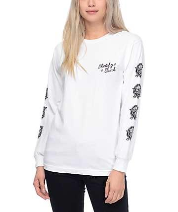 Sketchy Tank Roses camiseta blanca de manga larga