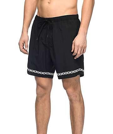 """Sketchy Tank Sly Link board shorts 16"""" en blanco y negro"""