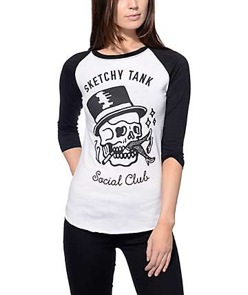 Sketchy Tank Social Club Black Baseball Tee
