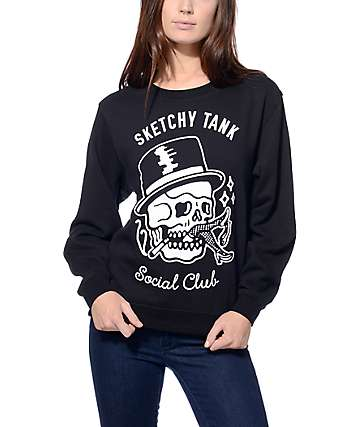 Sketchy Tank Social Club Black Crew Neck Sweatshirt
