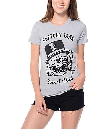 Sketchy Tank Social Club Grey T-Shirt