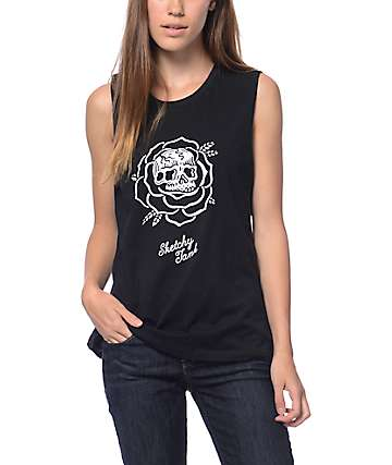 Sketchy Tank Thorn Black Muscle Tank Top