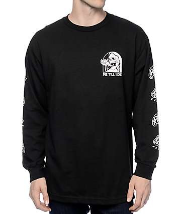 Sketchy Tank Tie Black Long Sleeve T-Shirt