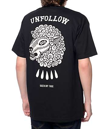 Sketchy Tank Unfollow Black T-Shirt