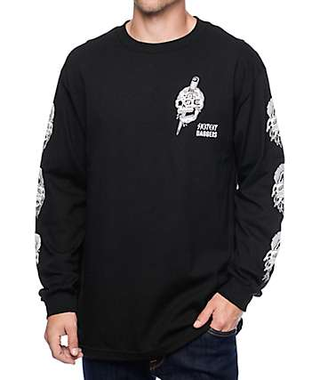 Sketchy Tank x Swallows & Daggers Skull Black Long Sleeve T-Shirt
