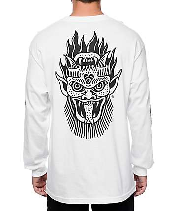 Sketchy Tank x Swallows & Daggers Skull White Long Sleeve T-Shirt