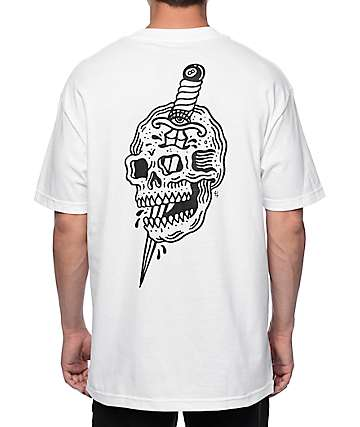 Sketchy Tank x Swallows & Daggers Skull White T-Shirt