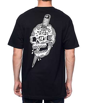 Sketchy Tank x Swallows & Daggers Skull camiseta en negro