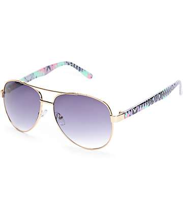 Slam Mint Aztec Aviator Sunglasses