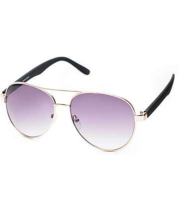 Slam Solid Black Rubber Aviator Sunglasses