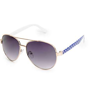 Slam White Stars Aviator Sunglasses