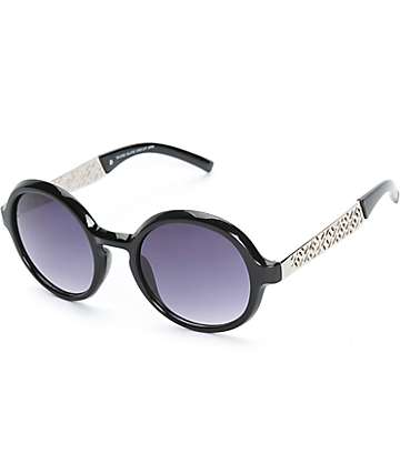 Slate Diecut Arm Round Sunglasses