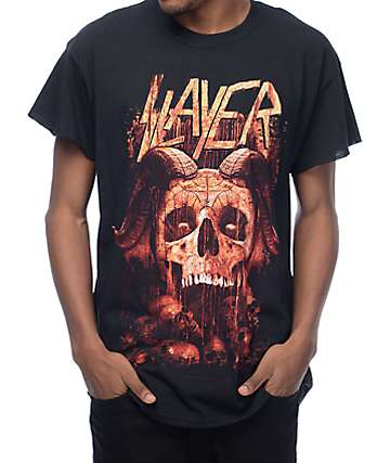 Slayer Horned Skull camiseta negra con sisas recortadas